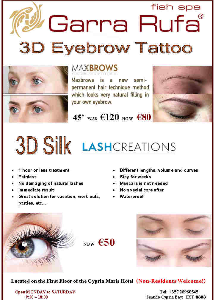 3D Eyebrow Tattoo - Garra Rufa - Paphos Spa Cypria Maris Beach Hotel ...
